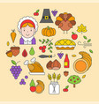 thanksgiving icon arrange as circle shape for use vector image