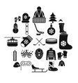 Things from canada icons set simple style