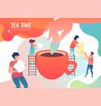 tiny men make tea vector image vector image