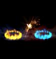 versus round orange and blue glow circles scene vector image
