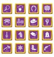 wild west icons set purple square vector image vector image
