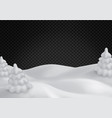 winter landscape with snowy fir trees snow hills vector image