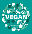 word vegan surrounded fruits and vegetables vector image