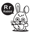 R Rabbit cartoon and alphabet for children to vector image