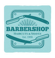 hairdressing salon or barbershop vintage label vector image