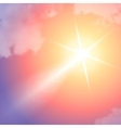 Realistic sun flare with clouds on blue sky vector image