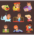 amusement park kids playing happy and funny vector image
