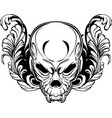 angry skull in floral ornament vector image vector image