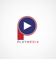 arrow media play icon theme logotype vector image