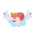 bashower cute sleeping fox on cloud vector image vector image