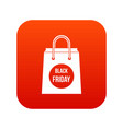 black friday shopping bag icon digital red vector image