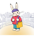 bunny artist vector image vector image