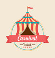 carnival festival logo badge with circus tent vector image vector image