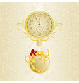 christmas background watch in new years golden vector image