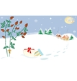 Christmas Landscape Briar Presents Starry Night vector image vector image