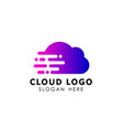 cloud tech logo design speed cloud logo design vector image