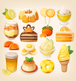 Colorful lemon and orange desserts vector image vector image