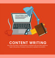 content writing laptop with notebook and glasses vector image vector image