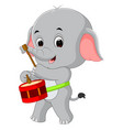 cute elephant playing drum vector image vector image