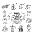 Decorative coffee icons set vector image vector image