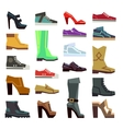 Different footwear casual shoes set vector image