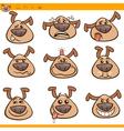 dog emoticons cartoon set vector image