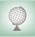 earth globe sign brown flax icon on green vector image vector image