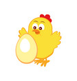 emblem with cute chicken and egg vector image