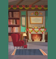 empty armchair near decorated fireplace home vector image