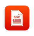 file doc icon digital red vector image vector image