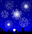 Fireworks over the night city vector image