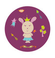 hand-drawn rabbit the fairy in a crown vector image vector image