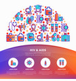 hiv and aids concept in half circle with icons vector image