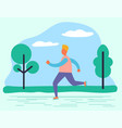 jogger exercising in park healthy lifestyle man vector image