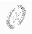 Laurel wreath with star icon isometric 3d style vector image