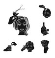 manipulation by hands black icons in set vector image vector image