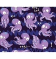 octopuses in cartoon seamless pattern vector image vector image