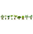 palm tree icon set isolated coconut palm tree vector image