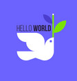 peace dove flat style of white pigeon with olive vector image vector image