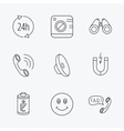 Phone call battery and faq speech bubble icons vector image vector image