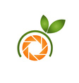 Photography logo with orange aperture and leaves
