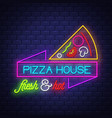 pizza house - neon sign on brick wall background vector image