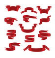 red glossy ribbon banners set symbols vector image