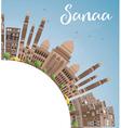 sanaa yemen skyline with brown buildings vector image vector image