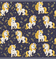 seamless pattern from cute white unicorns vector image vector image