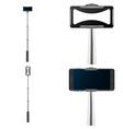 selfie stick mobile mockup set realistic style vector image