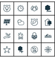 set of 16 ecology icons includes bonfire delete vector image vector image
