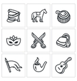 Set of Hussars Icons Shako Horse vector image vector image