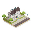 smart city townhouse isometric composition vector image