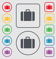 suitcase icon sign symbol on the Round and square vector image